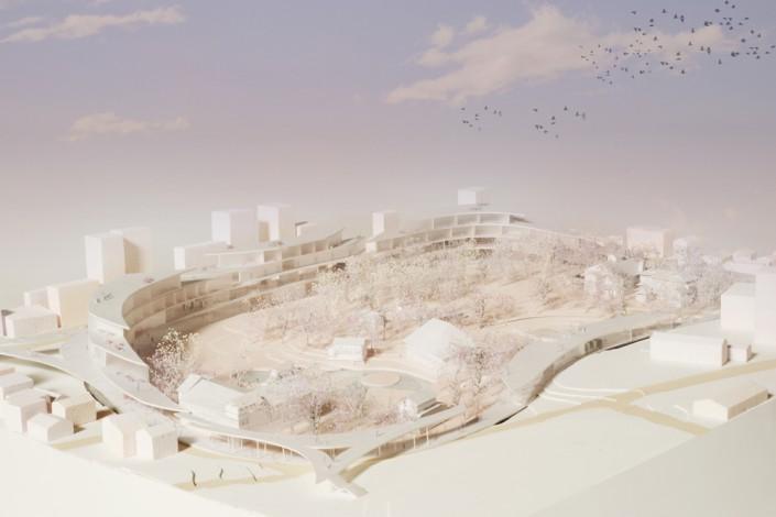 鶴身さんの作品『Yo Yo 揚輝荘 –有形文化財揚輝荘を核とした集合体の再構築–』
